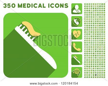 Tooth Brush Icon and Medical Longshadow Icon Set