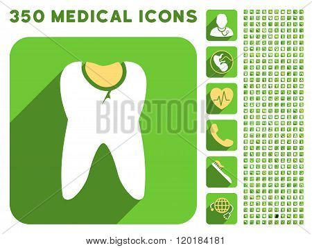 Tooth Caries Icon and Medical Longshadow Icon Set