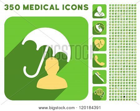 User Umbrella Protection Icon and Medical Longshadow Icon Set
