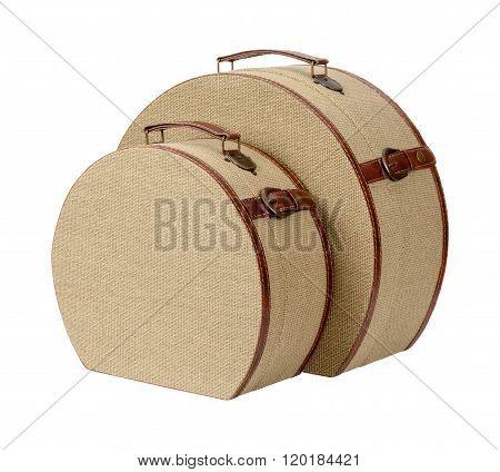 Two Round Deco Burlap Suitcases
