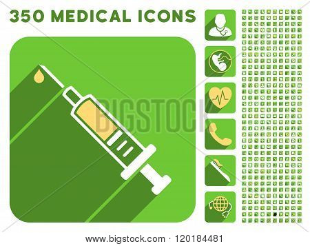 Vaccination Icon and Medical Longshadow Icon Set