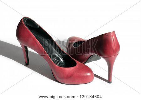 Red Leather Stiletto Heels