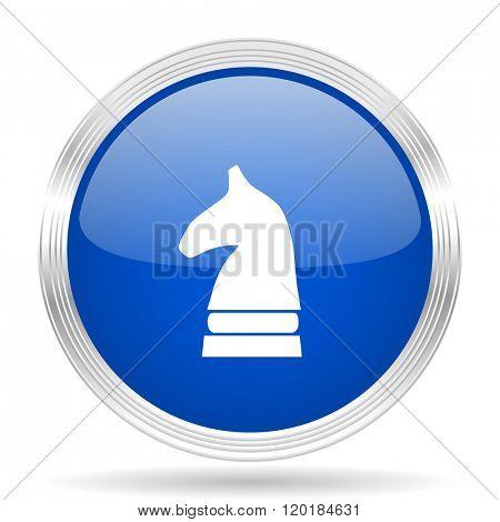 chess horse blue silver metallic chrome web circle glossy icon