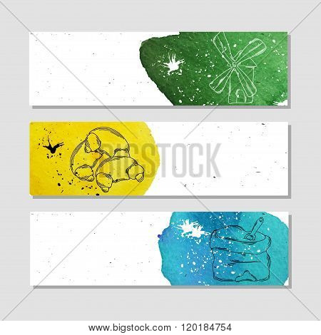 Isolated Advertising Banner In Paper Style With Colorful Watercolor Stains. Raw Materials For Baker&