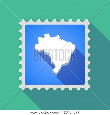 Long Shadow Mail Stamp Icon With  A Map Of Brazil