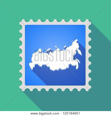 Long Shadow Mail Stamp Icon With  A Map Of Russia