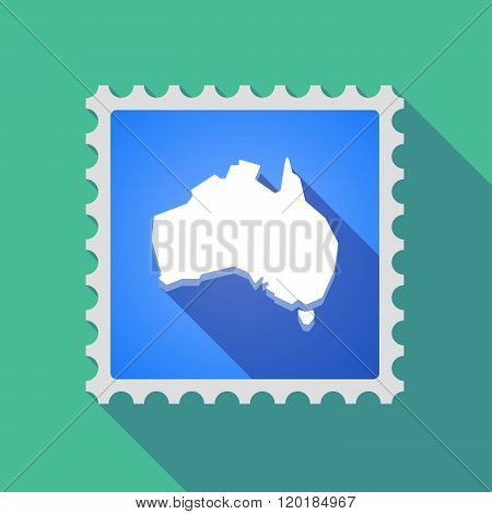 Long Shadow Mail Stamp Icon With  A Map Of Australia