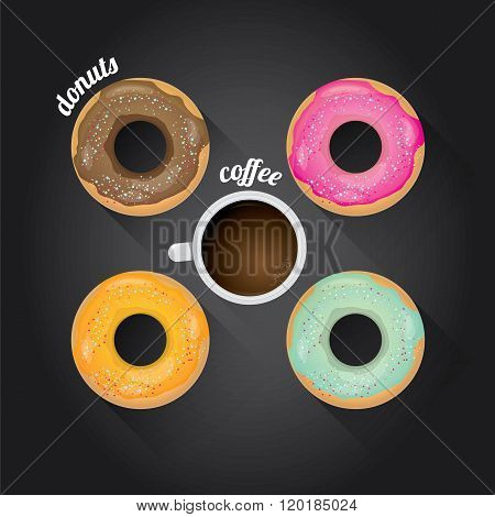donuts coffee vector background.
