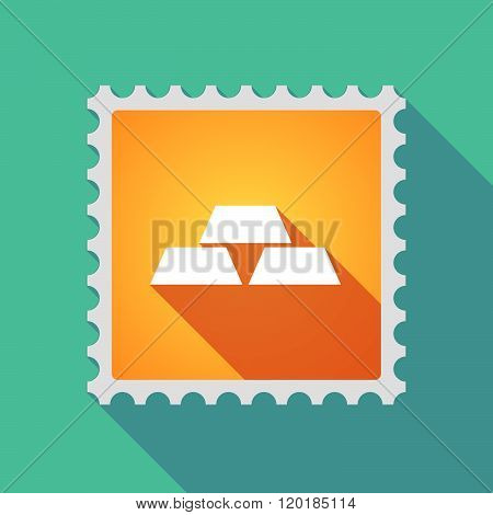 Long Shadow Mail Stamp Icon With Three Gold Bullions