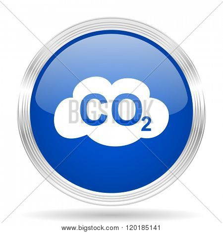 carbon dioxide blue silver metallic chrome web circle glossy icon