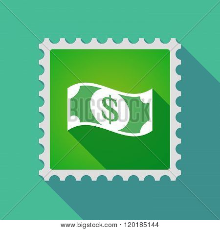 Long Shadow Mail Stamp Icon With A Dollar Bank Note
