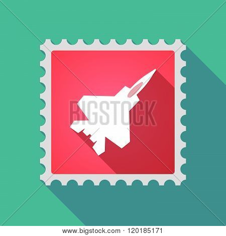 Long Shadow Mail Stamp Icon With A Combat Plane