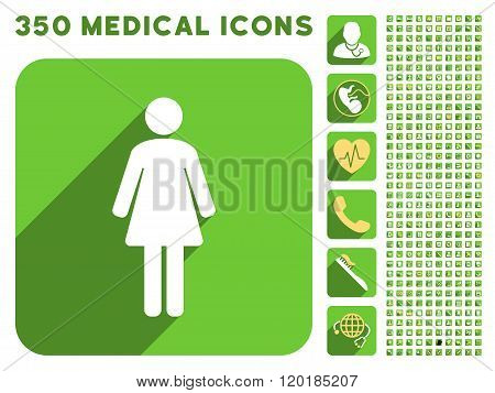 Woman WC Icon and Medical Longshadow Icon Set
