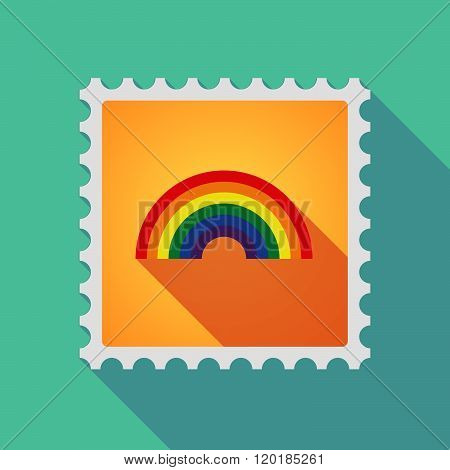 Long Shadow Mail Stamp Icon With A Rainbow
