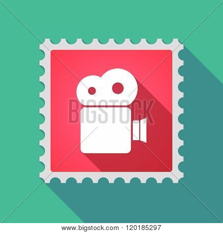 Long Shadow Mail Stamp Icon With A Film Camera