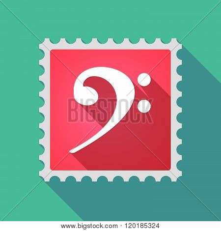 Long Shadow Mail Stamp Icon With An F Clef