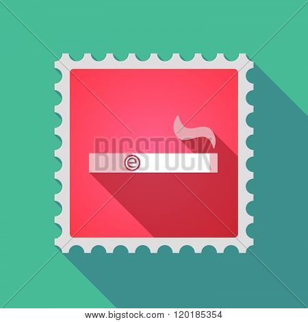 Long Shadow Mail Stamp Icon With An Electronic Cigarette