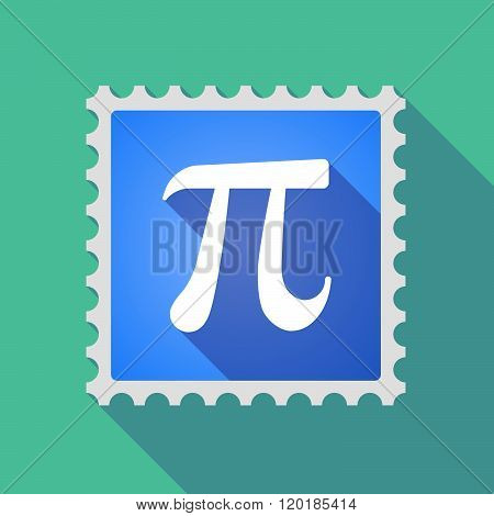 Long Shadow Mail Stamp Icon With The Number Pi Symbol