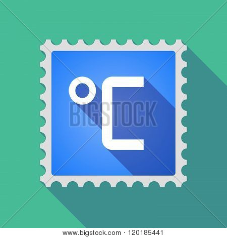 Long Shadow Mail Stamp Icon With  A Celsius Degree Sign