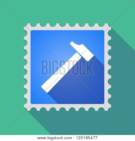 Long Shadow Mail Stamp Icon With A Hammer