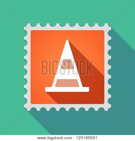 Long Shadow Mail Stamp Icon With A Road Cone
