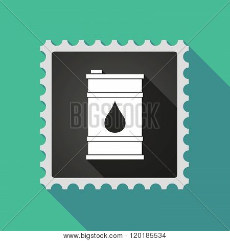 Long Shadow Mail Stamp Icon With A Barrel Of Oil