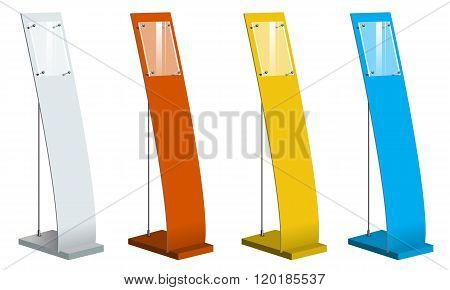 Freestanding information kiosk, terminal, retail trade stand. Vector