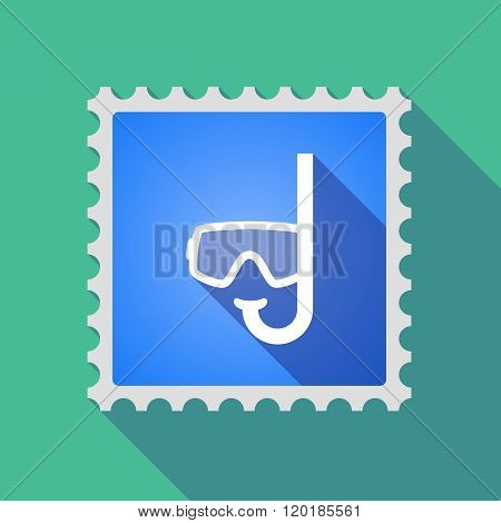 Long Shadow Mail Stamp Icon With A Diving Goggles