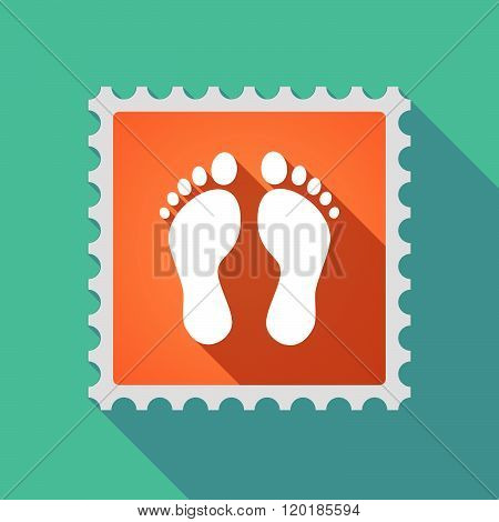 Long Shadow Mail Stamp Icon With Two Footprints