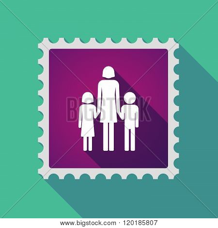 Long Shadow Mail Stamp Icon With A Female Single Parent Family Pictogram