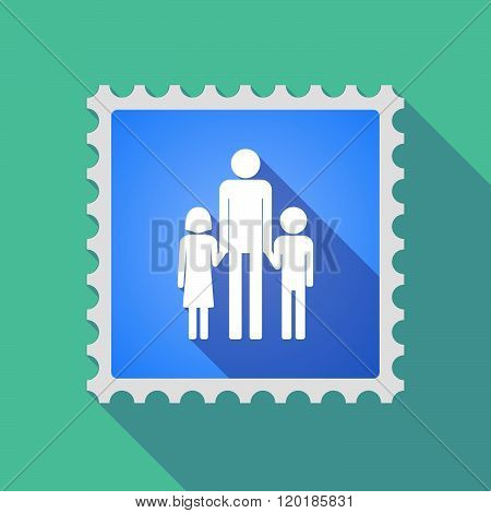 Long Shadow Mail Stamp Icon With A Male Single Parent Family Pictogram