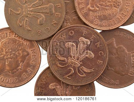Two Pence Coins Isolated, Selective Focus