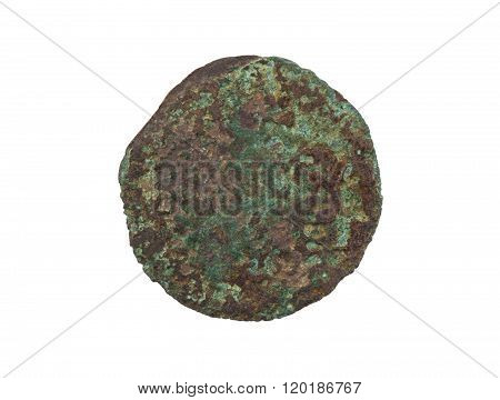 Unrecognisable Old Coin, Rusted And Green, Isolated