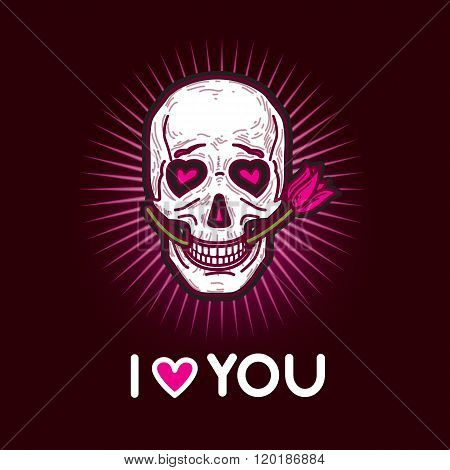 Gloomy And Grim Black And Pink Illustration Postcard With Skull In Love.