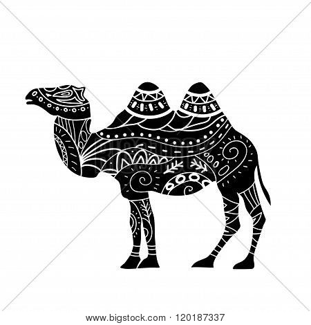 camel silhouette with tribal ornaments isolated