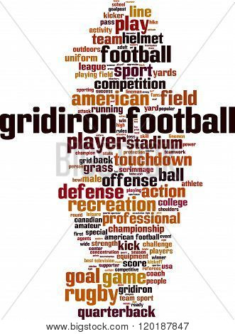 Gridiron football word cloud concept. Vector illustration