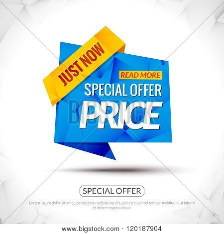 Sale Tag special price Paper Origami style banner. Promotional marketing and special offer price for