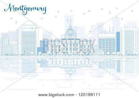 Outline Montgomery skyline with blue buildings and reflections. Business travel and tourism concept with place for text. Image for presentation, banner, placard and web site.