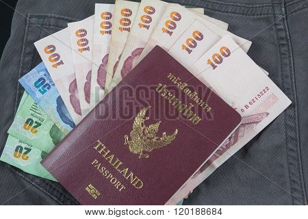Thai pocket money on passports for traveling