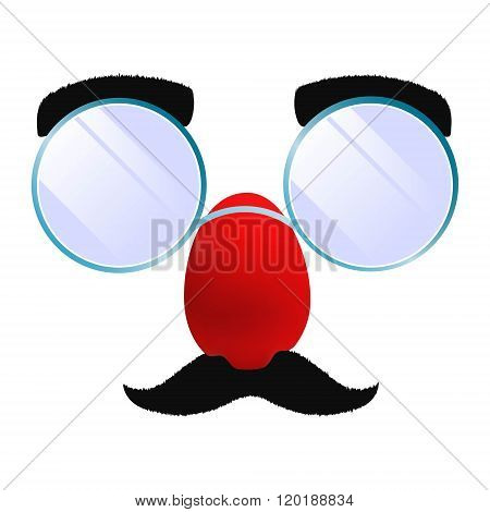 April Fools Day funny glasses. Isolated clipart.