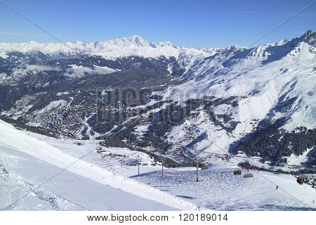 Winter aerial view of French alpine ski resort