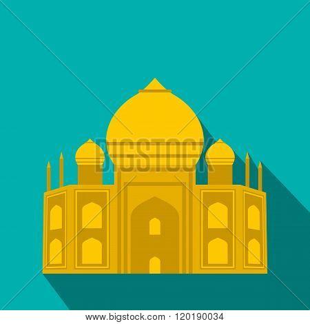 Taj Mahal, India icon, flat style