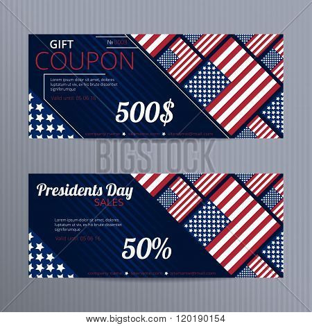 Gift voucher with stylized USA flags.
