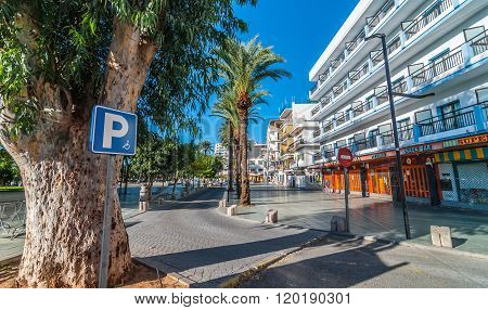 Disabled persons parking available at local markets in sunny Ibiza.  St Antoni de Portmany.