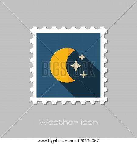 Moon And Stars Flat Stamp. Meteorology. Weather