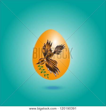 Picture dark yellow egg with a bird
