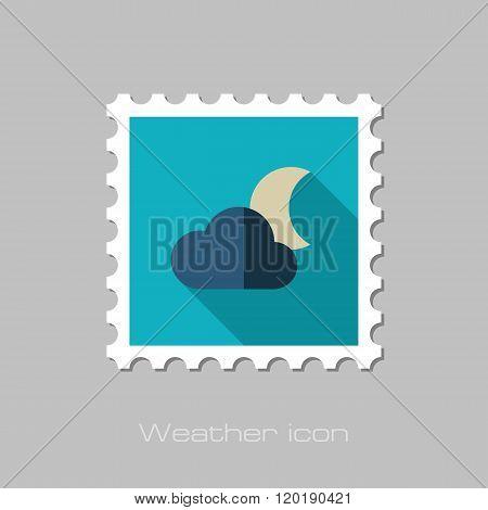 Cloud Moon Flat Stamp. Meteorology. Weather