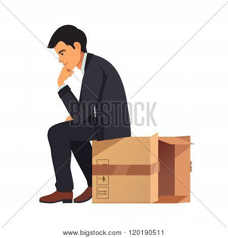 Businessman thinking outside the box concept