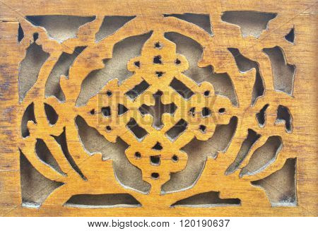 Beautiful wood carving close up