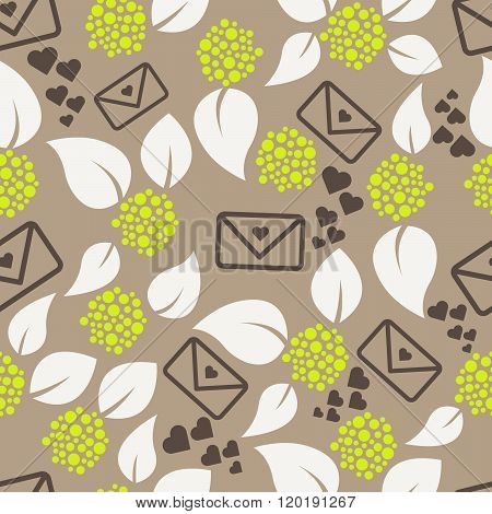 Romantic Letters And Flowers Seamless Pattern.
